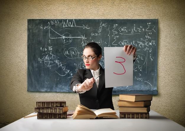 Serious female teacher