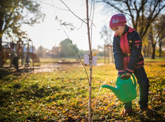Серьезная трудолюбивая девочка поливает посадившее дерево