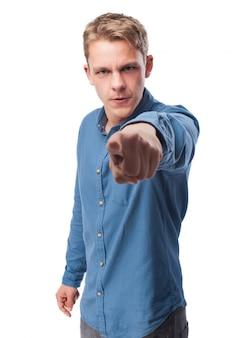 Serious man pointing