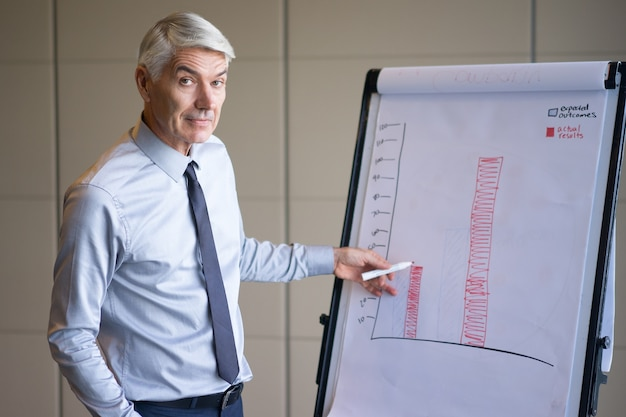 Serious senior speaker explaining bar chart
