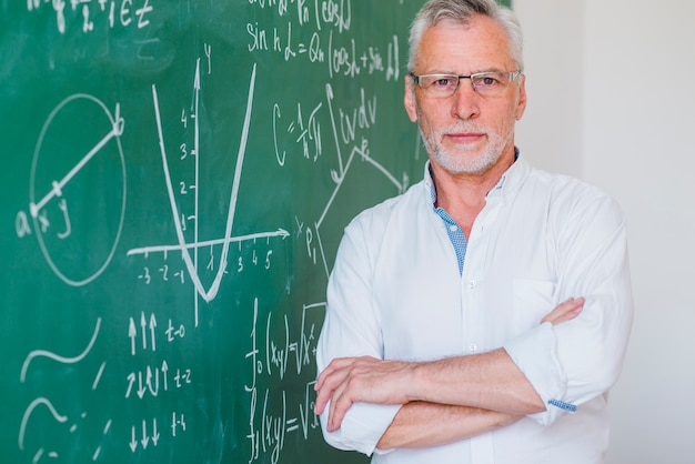 Serious teacher in glasses standing at blackboard hand on hand