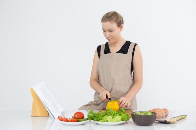 料理中のレシピ帳を読んでいる真剣な女性