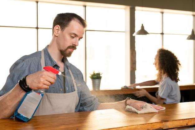 카페에서 청소하는 동안 바 카운터에 세제를 뿌리는 앞치마에 심각한 젊은 수염 난된 남자