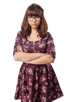 Serious young woman with glasses
