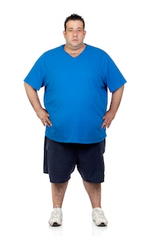 Seriously fat man isolated on white background