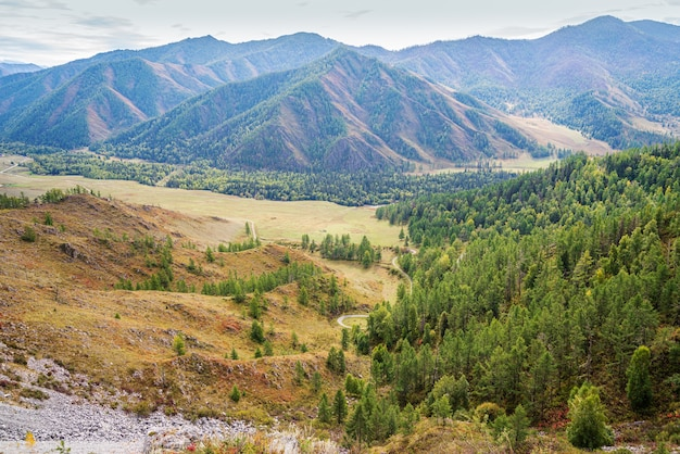 Serpentine mountain road view of chuysky tract from the chiketaman pass altai mountains russia