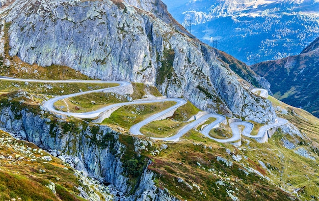 Serpentine road leading to the gotthard pass in the swiss alps