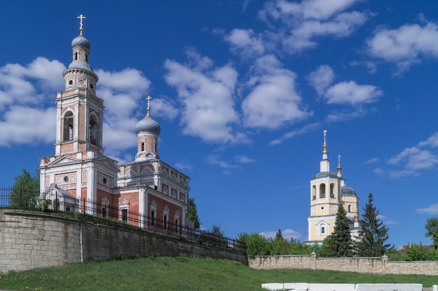 Serpukhov.church of the assumption of the blessed virgin (yellow) and elijah the prophet.