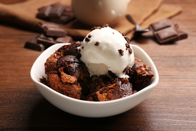 Served table of chocolate lava cake with ice-cream