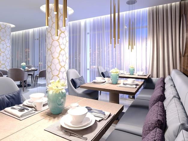 현대적인 디자인의 고급스러운 가구로 꾸며진 호텔 레스토랑의 테이블 제공. 3d 렌더링