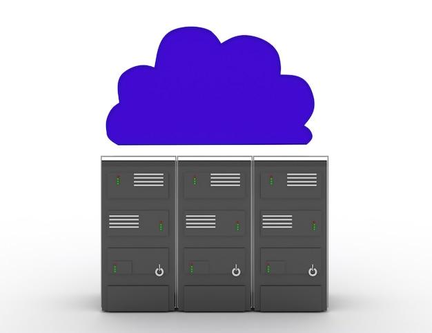 Дизайн иллюстрации концепции облачных вычислений сервера резервный над белизной. 3d визуализированная иллюстрация