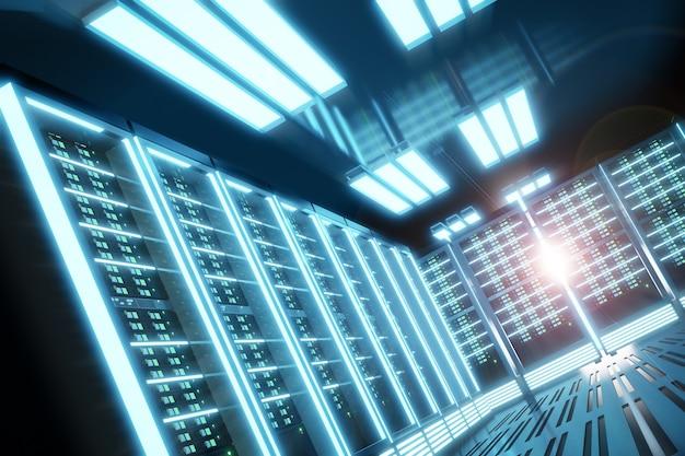 블랙 컬러 테마의 라이트 플레어가 있는 서버 컴퓨터실. 3d 일러스트레이션 렌더링입니다.