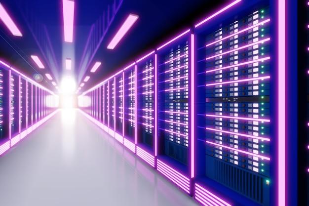핑크 퍼플 컬러 테마의 라이트 플레어가 있는 서버 컴퓨터실. 3d 일러스트레이션 렌더링입니다. 글로우 효과 이미지