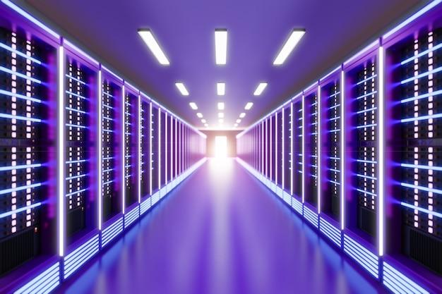 핑크 퍼플 컬러 테마의 라이트 플레어가 있는 서버 컴퓨터실. 3d 일러스트레이션 렌더링입니다.
