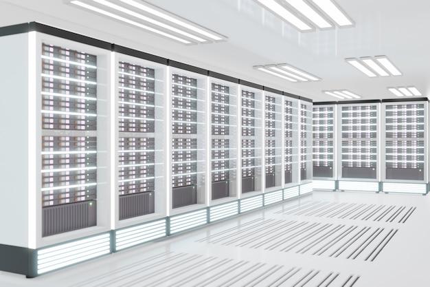 흰색 테마의 라이트 플레어가 있는 서버 컴퓨터실. 3d 일러스트레이션 렌더링입니다.