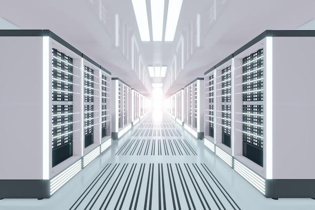 白色をテーマにしたライトフレアのサーバーコンピュータルーム。 3dイラストレンダリング。