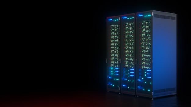 블랙에 서버 데이터 팜 컴퓨터