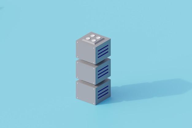 서버 데이터베이스 단일 격리 된 개체입니다. 3d 렌더링