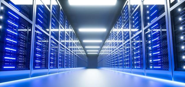 Интерьер серверной комнаты в дата-центре. 3d визуализация