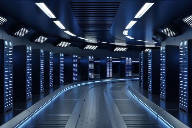 Серверная комната с синими огнями
