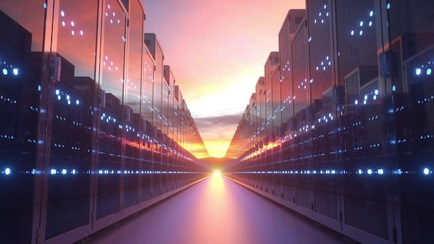 Серверы на закате, концепция облачных технологий. 3d-рендеринг.