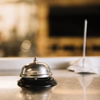 Service bell on table in restaurant