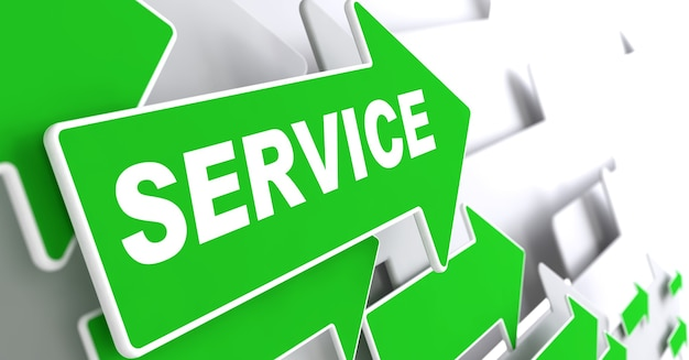 灰色の背景の緑の矢印のサービステキスト