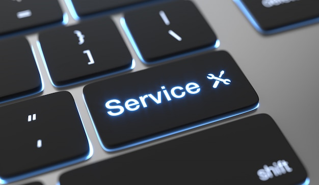 Service text written on keyboard button. customer service background.