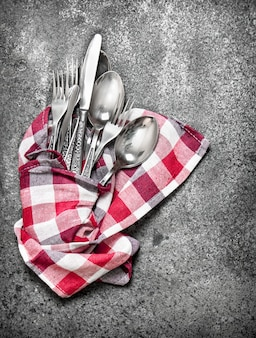 Serving background. cutlery on a napkin.