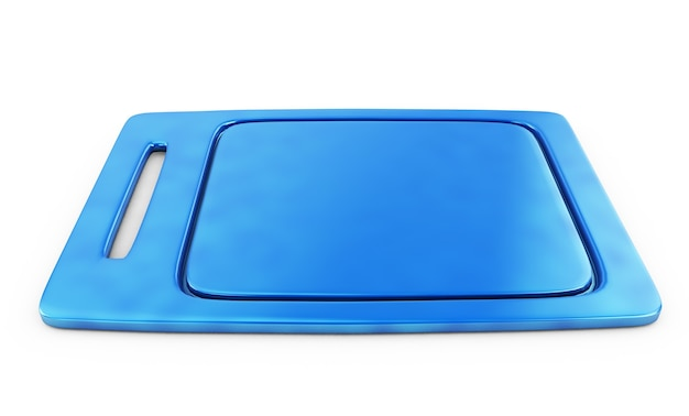 Сервировочный синий поднос. «3d иллюстрация» «3d рендеринг»