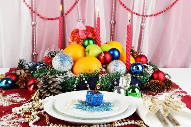 Serving christmas table