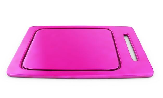 Поднос розовый сервировочный. «3d иллюстрация» «3d рендеринг»