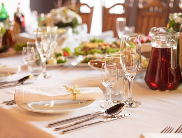 Serving table prepared for event party or wedding