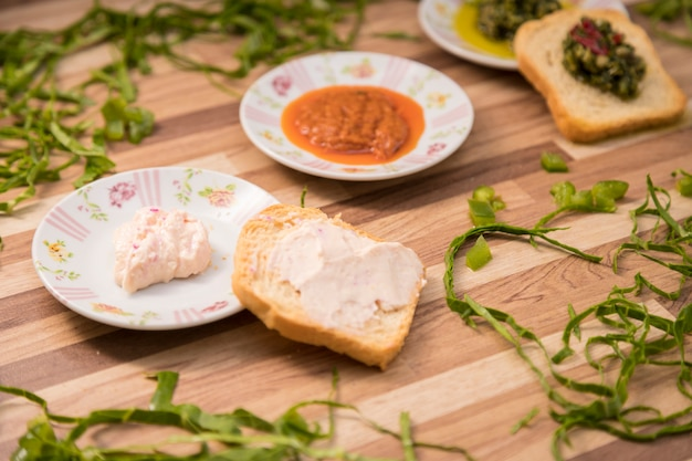 Serving toast with pate