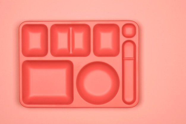 Serving tray on coral background
