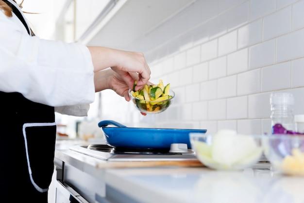 Serving zucchini on frying pan
