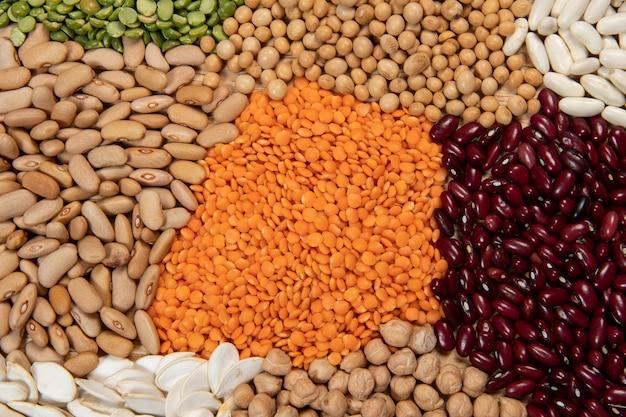 다양한 종류의 곡물 및 건조 식용 종자 제공. 평면도에서 섬유 소스의 예
