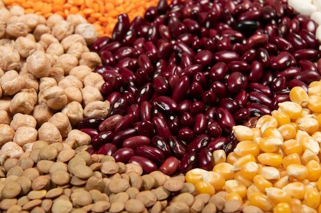 다양한 종류의 곡물 및 건조 식용 종자 제공. 섬유 공급원의 예, 선택적 초점