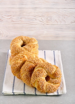 Sesame bagel bread on table