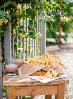 Sesame cheese biscuits rustic style in the garden