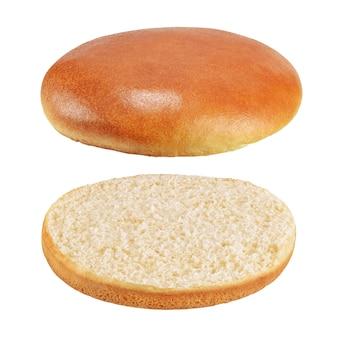 참깨가없는 비행 햄버거 빵 또는 고립 된 빵