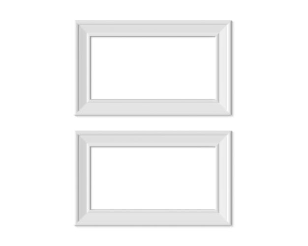 Set 2 1x2 horizontal landscape picture frame. 3d render.