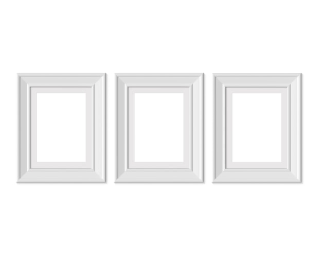 Set 3 3x4 vertical portrait picture frame.  3d render.
