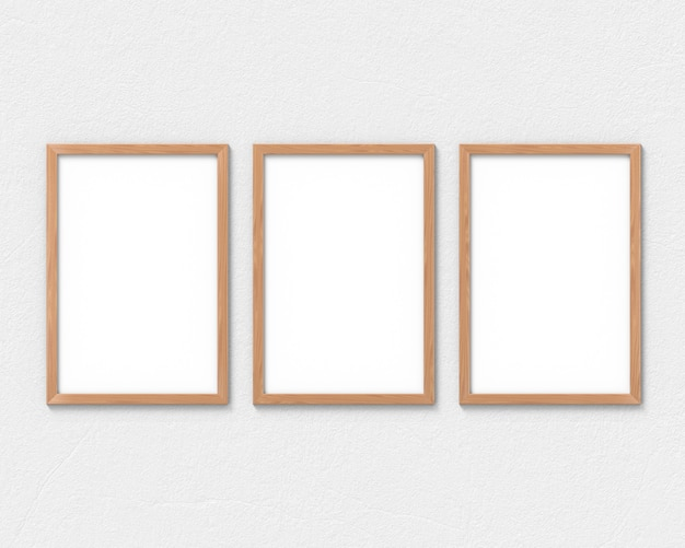 Set of 3 vertical wooden frames with a border hanging on the wall. 3d rendering.