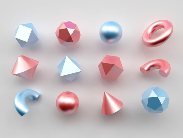 Set of 3d realistic primitives shapes