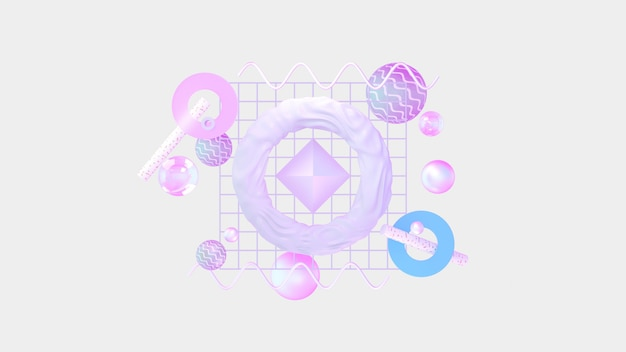 Set of 3d render realistic primitives. isolated graphic elements. spheres, torus, tubes, cones and other geometric shapes in pink, holographic glass colors for trendy designs.
