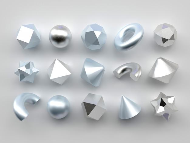Set of 3d render realistic primitives on white background