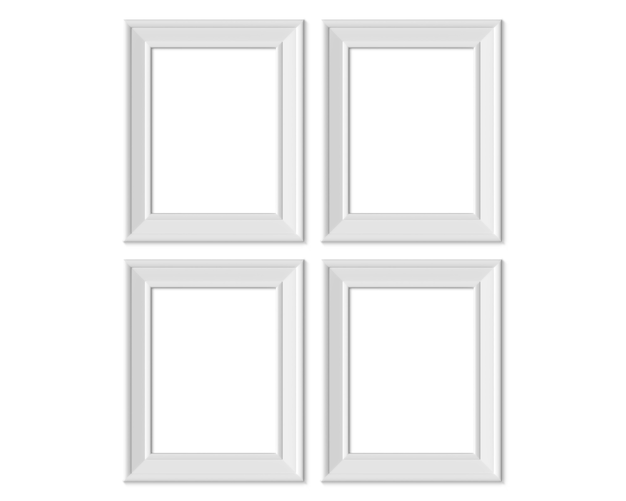 Set 4 3x4 vertical portrait picture frame. realisitc paper, wooden or plastic white blank .