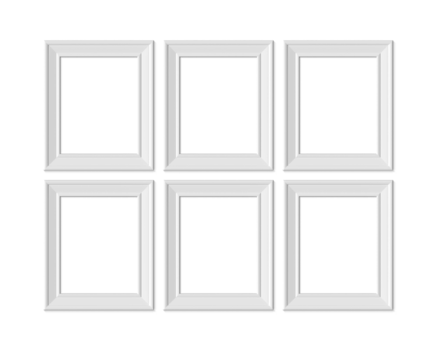 Set 6 4x5 vertical portrait picture frame. realisitc paper, wooden or plastic white blank.