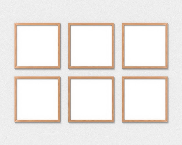 Set of 6 square wooden frames hanging on the wall.  3d rendering.